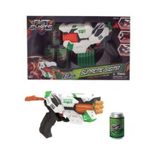 Pistola de dardos con latas