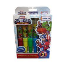 Set 6 Blow Pen y Stencil Super Hero